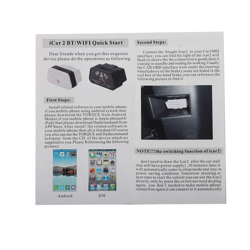 iCar 2 Mini OBD2 WiFi Car Diagnostic Scan Tool for IOS iPhone iPad PC with Switch Auto Sleep LR10