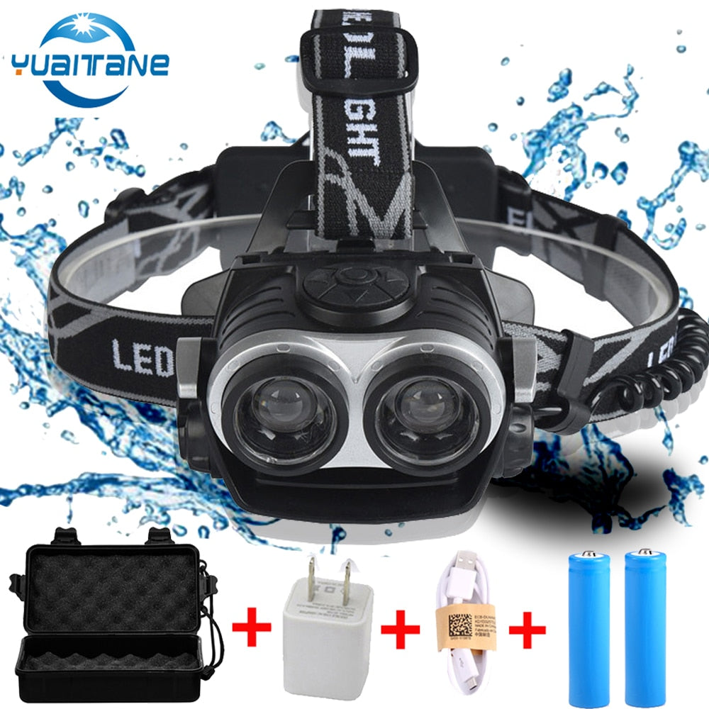 30000LMS LED Headlamp 2*T6 Zoomable Focus LED Headlight torch Head Lamp USB Rechargeable Lantern FlashLight Use 2* 18650 Battery