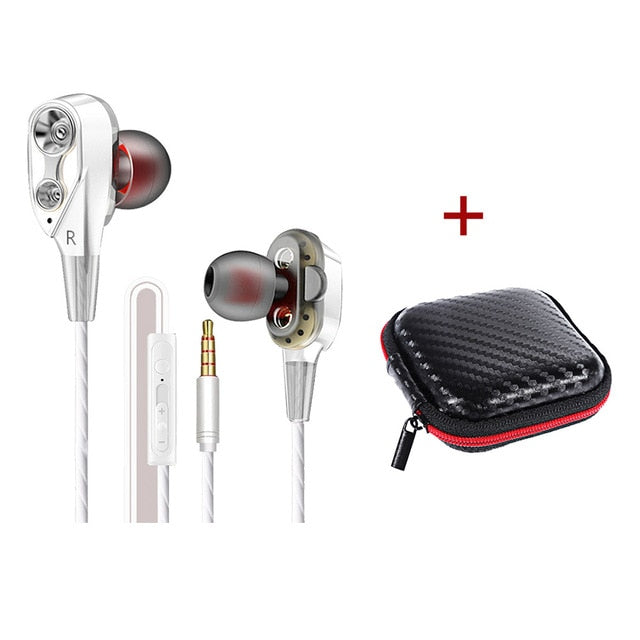 Wired earphone High bass dual drive stereo With Microphone C
