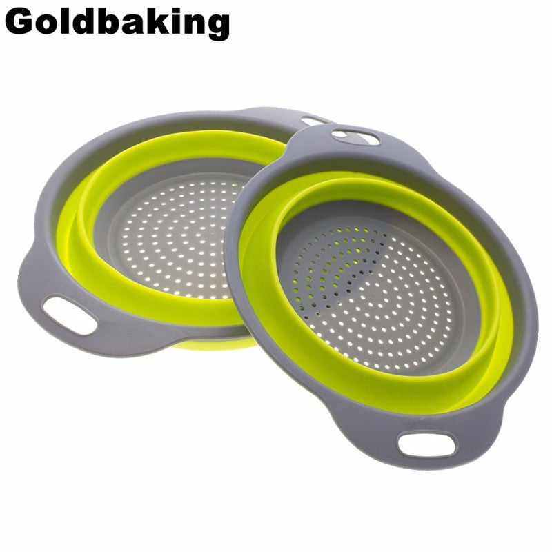 2 Piece Collapsible Silicone Colander 8 Inch/ 9.5 Inch