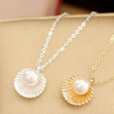 Shell Pearl Necklace, Necklaces - Elpis Garden
