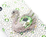 Swan Bling Crystal Galaxy S7 Phone Cases - Green