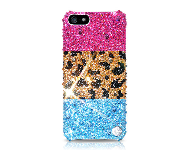 Leopardo Mixed Bling Swarovski Crystal Phone Case