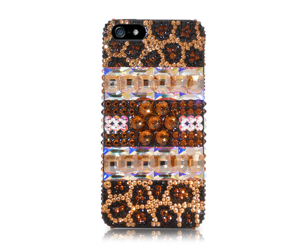 Leopard Square Bling Crystal iPhone 6S Plus Cases - Brown