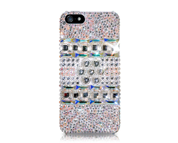 Leopard Square Bling Crystal iPhone 6S Plus Cases - White