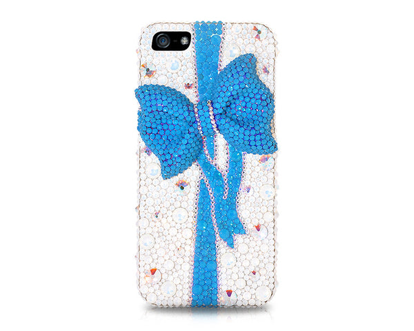 Blue Ribbon Bling Crystal Phone Cases