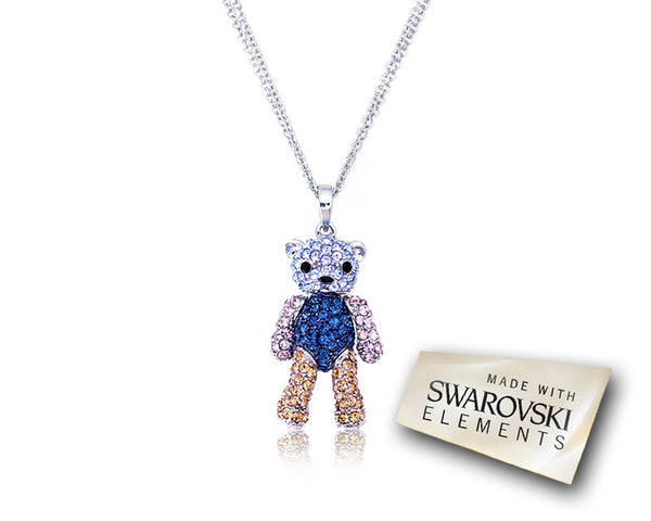 3cm Childhood Collection Swarovski Teddy Pendant Necklace - Blue