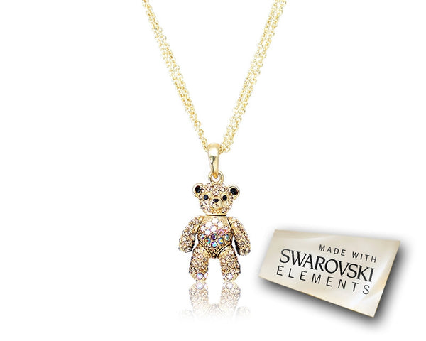 2cm Swarovski Crystal Bear Pendant Necklace - Brown