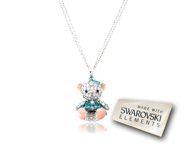 2.5cm Swarovski Crystal Teddy with Dress Pendant Necklace - Blue