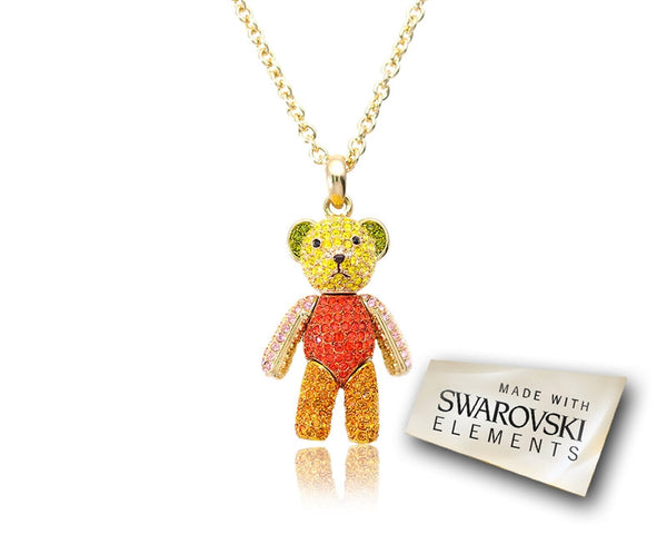 5cm Classic Collection Swarovski Teddy Pendant Necklace - Rainbow
