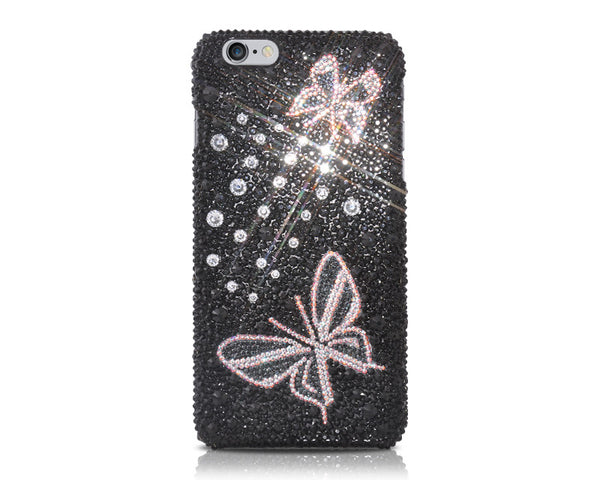 Butterfly Bling Crystal iPhone 7 Cases - Black