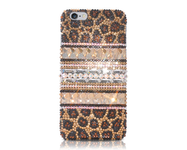Stripe Print Gold Bling Crystal Galaxy S7 Phone Cases