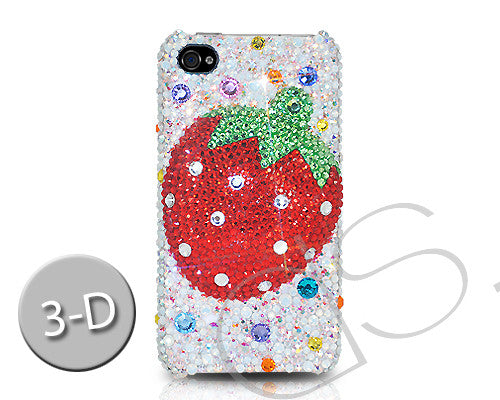 Strawberry 3D Bling Crystal Galaxy S7 Phone Cases - Red