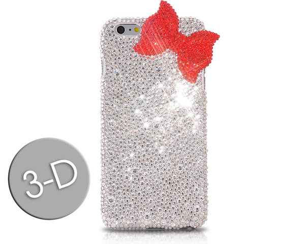 Red Ribbon Bow Bling Swarovski Crystal Galaxy S7 Phone Cases - White