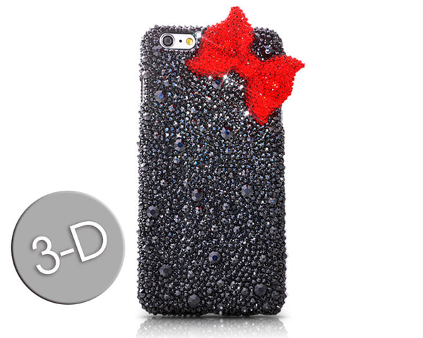 Red Ribbon Bow Bling Swarovski Crystal Galaxy S7 Phone Cases - Black