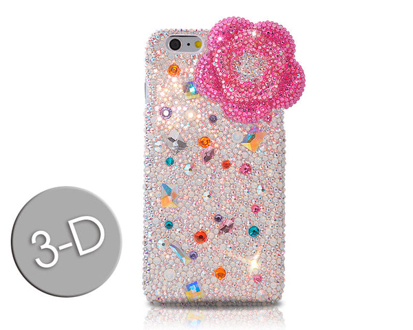 Floral Scattered 3D Bling Crystal iPhone 6S Plus Cases - Pink