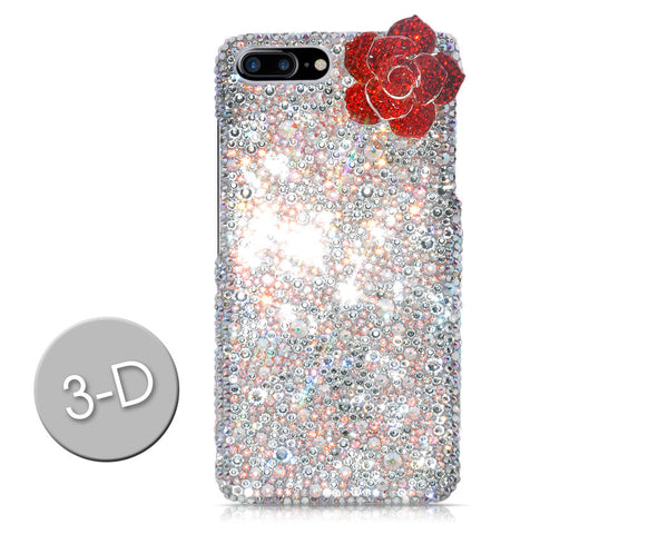 Rose Flower 3D Swarovski Crystal Galaxy S7 Phone Cases - White