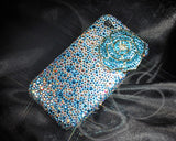 Rose 3D Bling Swarovski Crystal Galaxy S7 Phone Cases - Blue