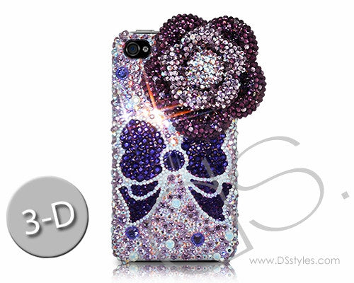Floral Ribbon 3D Bling Crystal iPhone 6S Plus Cases - Purple