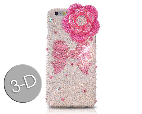 Floral Ribbon 3D Bling Crystal iPhone 6S Plus Cases - Pink