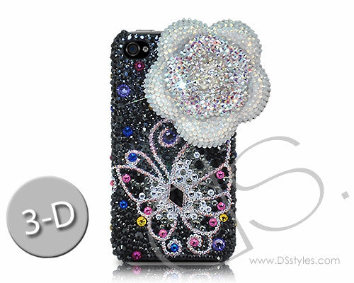 Floral Butterfly 3D Bling Crystal iPhone 6S Plus Cases - Silver
