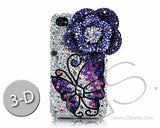 Floral Butterfly 3D Bling Crystal iPhone 6S Plus Cases - Blue