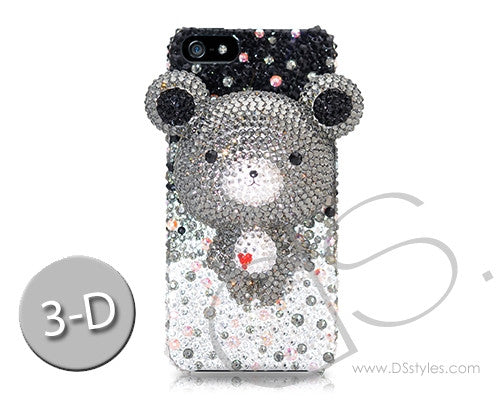 Gradation Bear 3D Bling Crystal iPhone 6S Plus Cases - Black