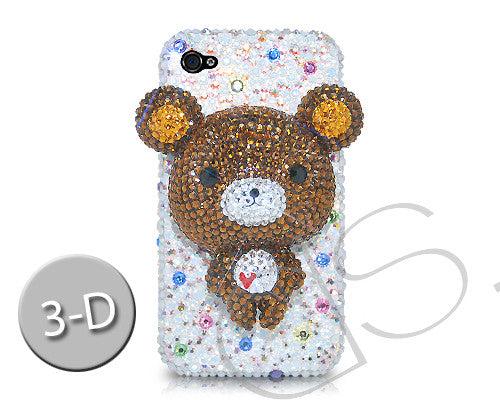 Bear 3D Bling Crystal iPhone 7 Cases - White