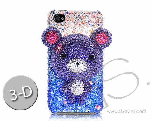 Gradation Bear 3D Bling Crystal iPhone 6S Plus Cases - Blue