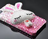 Gradation Rabbit 3D Bling Crystal iPhone 6S Plus Cases - Pink