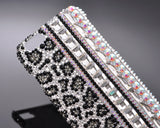 Leopard Grain Bling Crystal iPhone 6S Plus Cases - White