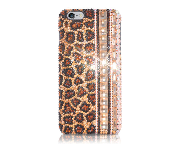 Leopard Grain Bling Crystal iPhone 6S Plus Cases - Brown