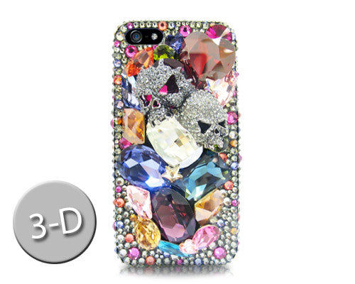 Twin Skulls 3D Bling Swarovski Crystal Galaxy Note 5 Phone Cases