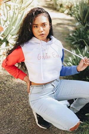 Red & Blue Sleeve Crop Top Hoodie