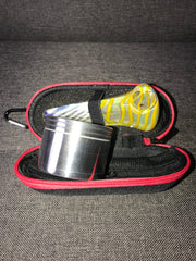 Travel Pipe with Smell-Proof Pipe Case & 4-Part Metal Grinder