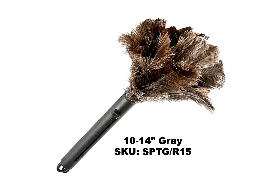 """ONE GREY FIRST GRADE  OSTRICH FEATHER DUSTER 14 /"""" OVERALL 350 MM PLASTIC HANDLE"""