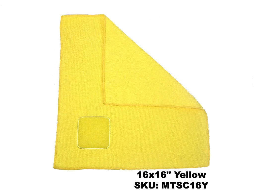 Microfiber cloth with Terry Scrubbing Pad Yellow - Rainbow Dusters