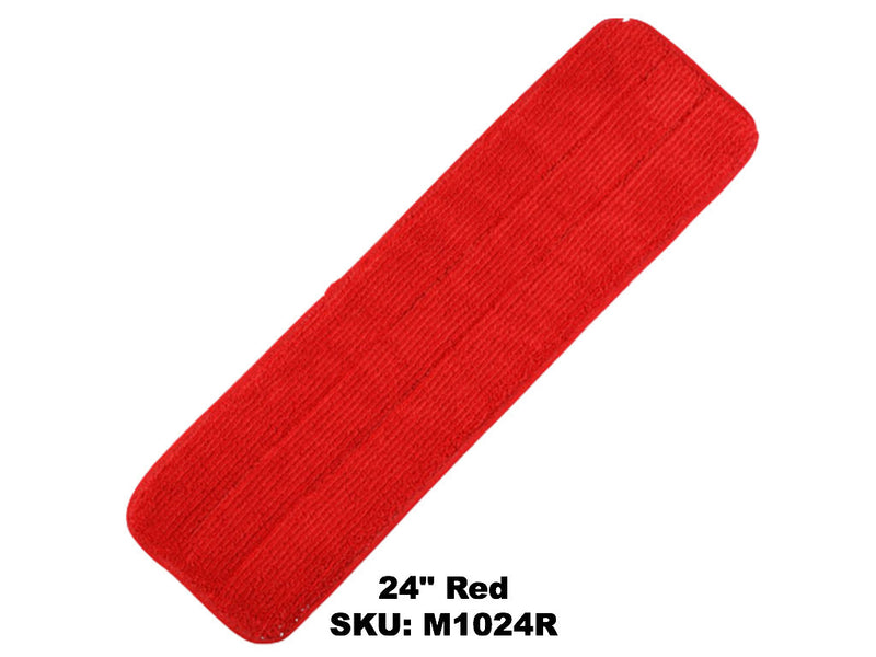 "24"" Microfiber Red Velcro Mop Pad - Rainbow Dusters"