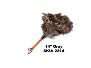 "Premium Ostrich Feather Duster 14"" Grey"