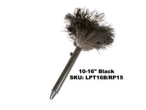 "10-16"" Premium Black Ostrich Feather Duster - Retractable"