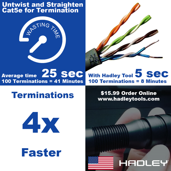 Our Cat5e Pair Straightener Tool helps you terminate Cat5e up to 4x FASTER  www.hadleytools.com