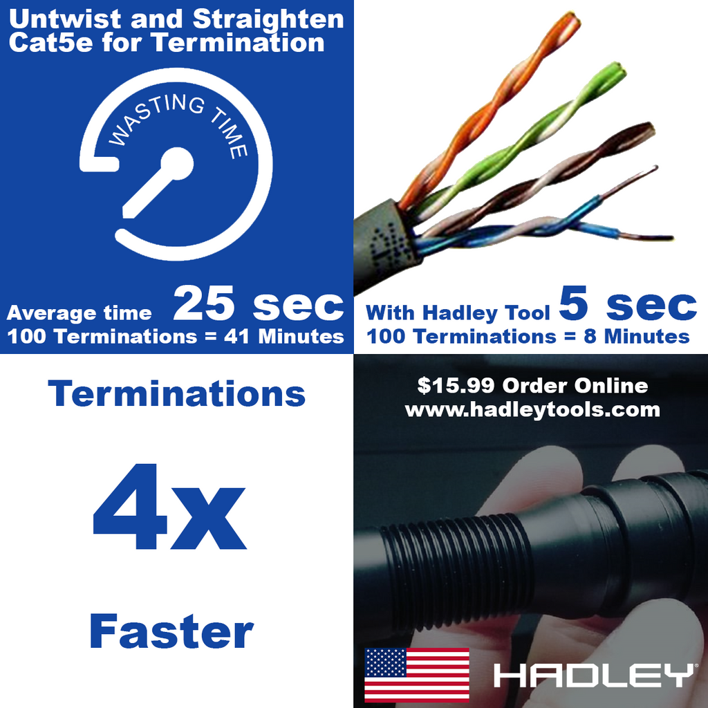 CAT5e Ethernet Pair Straightener Tool (Stock - Going Fast) - Hadley Tools