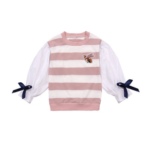 Little Bees Tees for Girls with Stripe