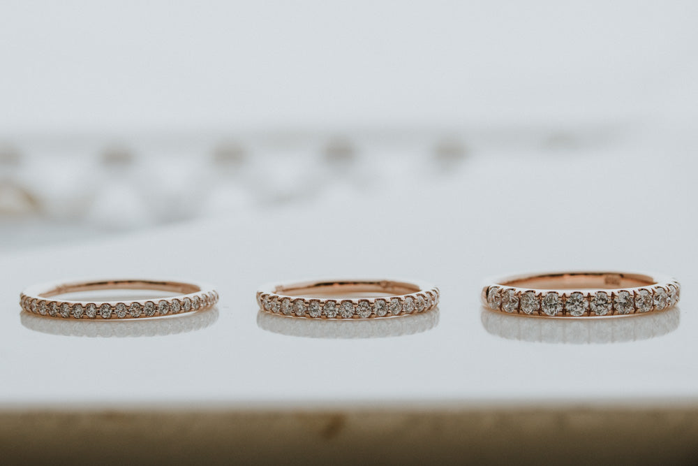 Different Diamond Sizes for Wedding Bands in 14K Rose Gold