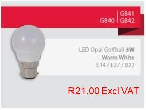 Eurolux LED Opal Golfball 3 Watt Warm White E14, E27, B22
