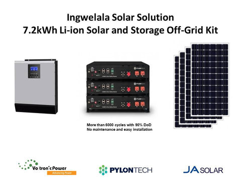 Ingwelala Solar Solution 7.2kWh Li-ion Solar and Storage Off-Grid Package