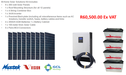 M-Home 3 KVA Solar Solutions Complete Kit