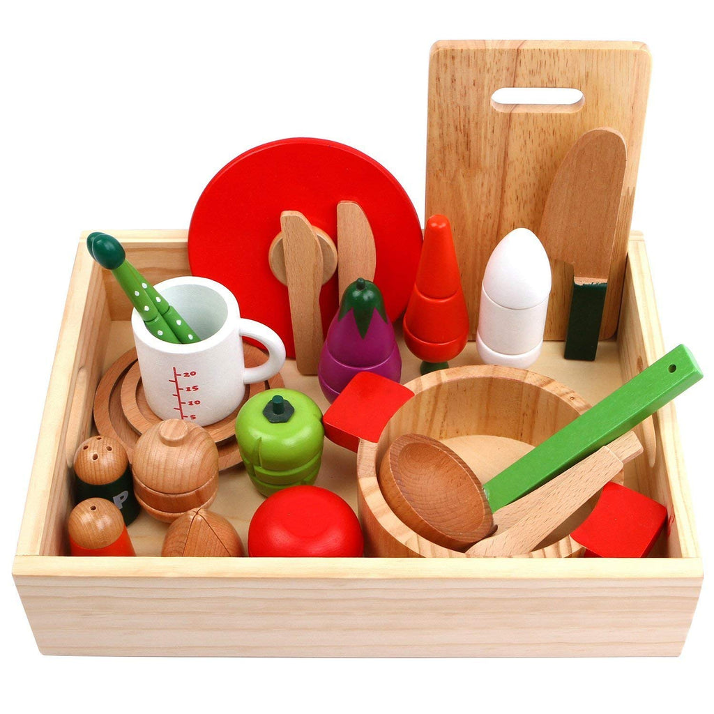 Iplay Ilearn Wooden Cutting Cooking Pretend Play Set Cookware