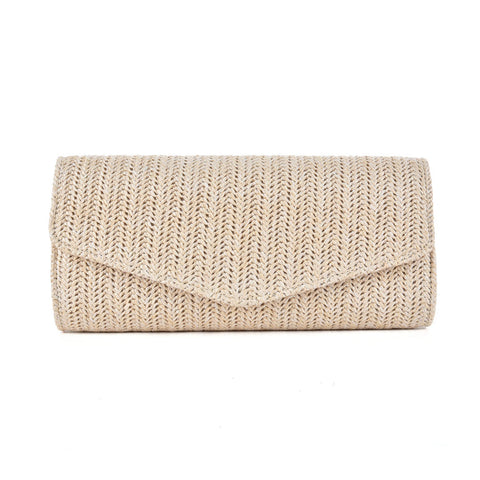 CB137 Beige - Simple Women Colorful Weave Evening Bag