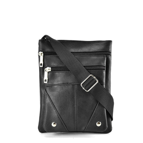 QQ2174 Black - Fashion Zip Detail Cross Body Bag